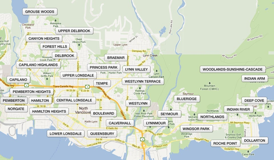 North Vancouver Map North Vancouver Neighbourhood Map